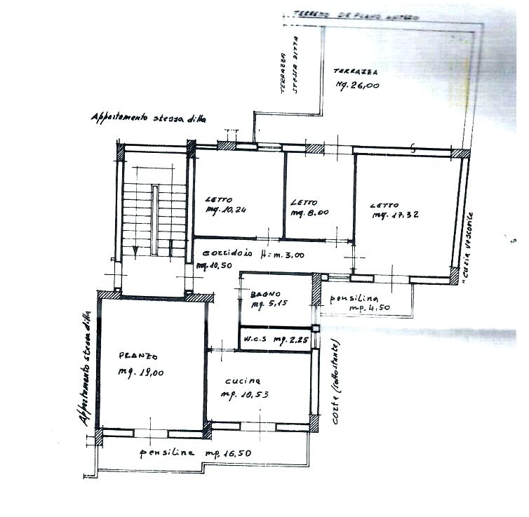 Planimetria dell'abitazione in vendita a Rocca di Caprileone vicino piazza Faranda